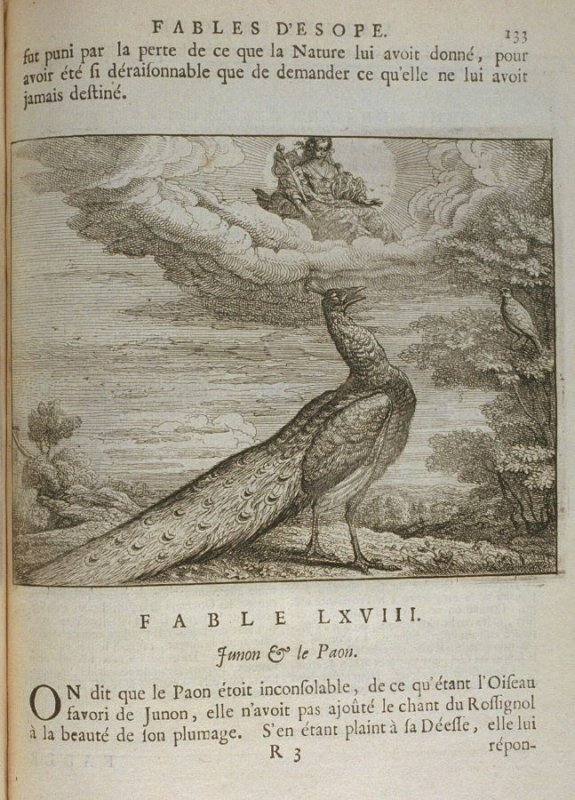 Illustration for the sixty-eighth fable on page 133 in the book Les fables d'Esope et de plusieurs autres excellens mythologistes (Amsterdam: Etienne Roger 1714)
