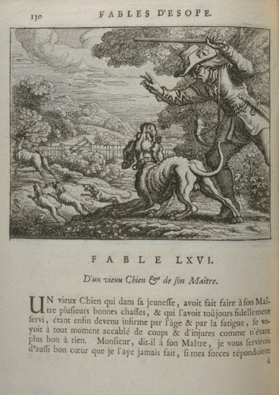 Illustration for the sixty-sixth fable on page 130 in the book Les fables d'Esope et de plusieurs autres excellens mythologistes (Amsterdam: Etienne Roger 1714)