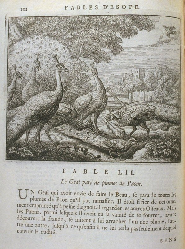 Illustration for the fifty-second fable on page 102 in the book Les fables d'Esope et de plusieurs autres excellens mythologistes (Amsterdam: Etienne Roger 1714)