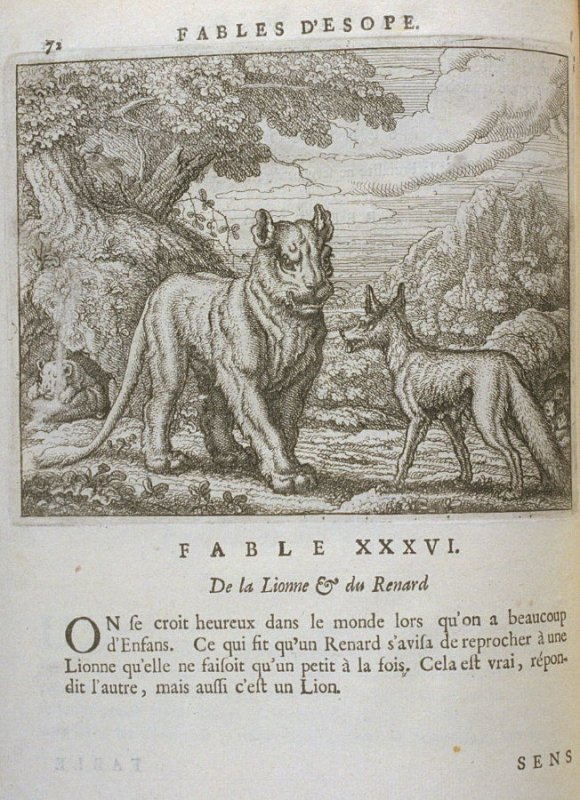 Illustration for the thirty-sixth fable on page 72 in the book Les fables d'Esope et de plusieurs autres excellens mythologistes (Amsterdam: Etienne Roger 1714)