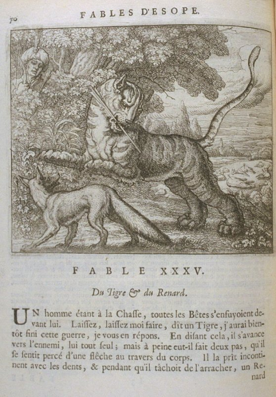 Illustration for the thirty-fifth fable on page 70 in the book Les fables d'Esope et de plusieurs autres excellens mythologistes (Amsterdam: Etienne Roger 1714)