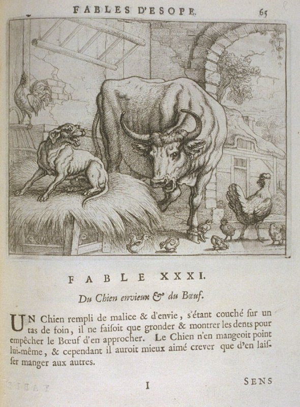 Illustration for the thirty-first fable on page 65 in the book Les fables d'Esope et de plusieurs autres excellens mythologistes (Amsterdam: Etienne Roger 1714)