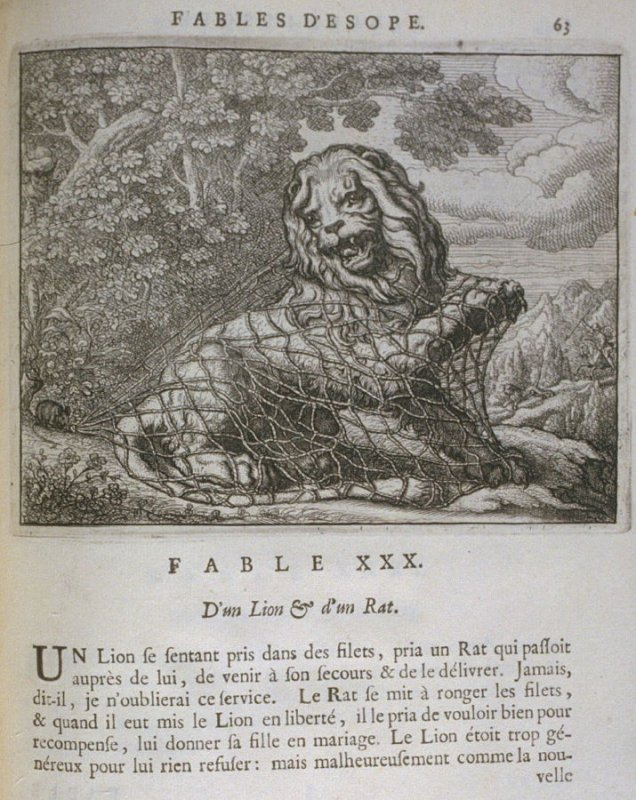 Illustration for the thirtieth fable on page 63 in the book Les fables d'Esope et de plusieurs autres excellens mythologistes (Amsterdam: Etienne Roger 1714)