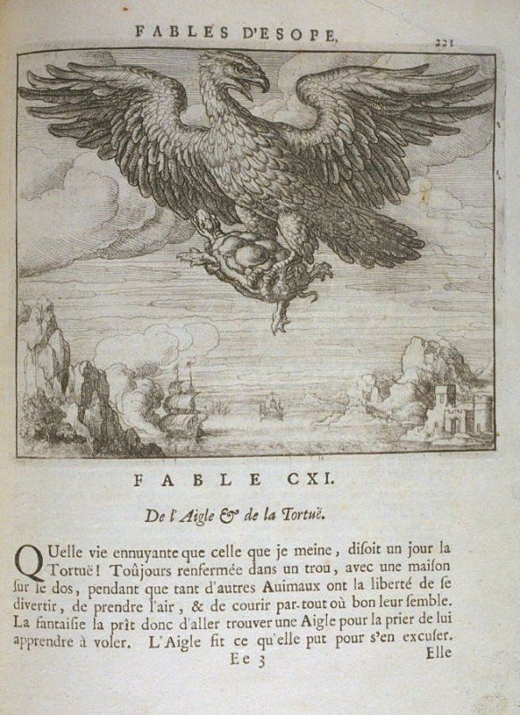Illustration for the hundred eleventh fable on page 221 in the book Les fables d'Esope et de plusieurs autres excellens mythologistes (Amsterdam: Etienne Roger 1714)