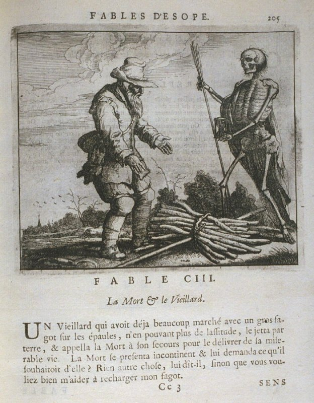Illustration for the hundred third fable on page 205 in the book Les fables d'Esope et de plusieurs autres excellens mythologistes (Amsterdam: Etienne Roger 1714)