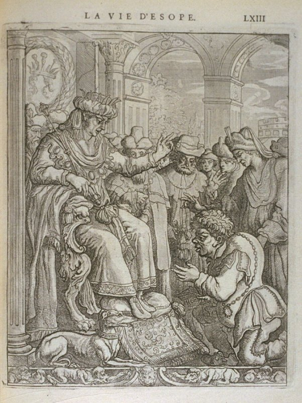 Illustration for La vie d'Esope (Life of Aesop) on page LXIII in the book Les fables d'Esope et de plusieurs autres excellens mythologistes (Amsterdam: Etienne Roger 1714)