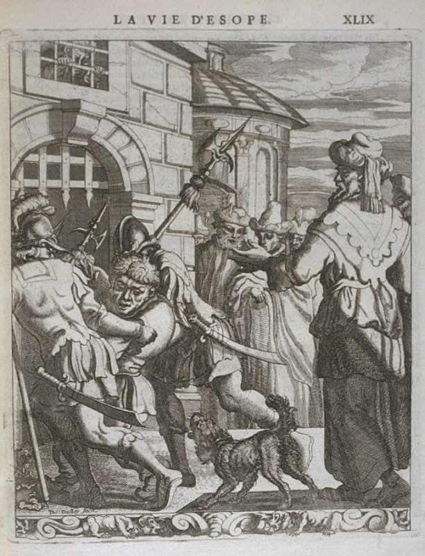 Illustration for La vie d'Esope (Life of Aesop) on page XLIX in the book Les fables d'Esope et de plusieurs autres excellens mythologistes (Amsterdam: Etienne Roger 1714)