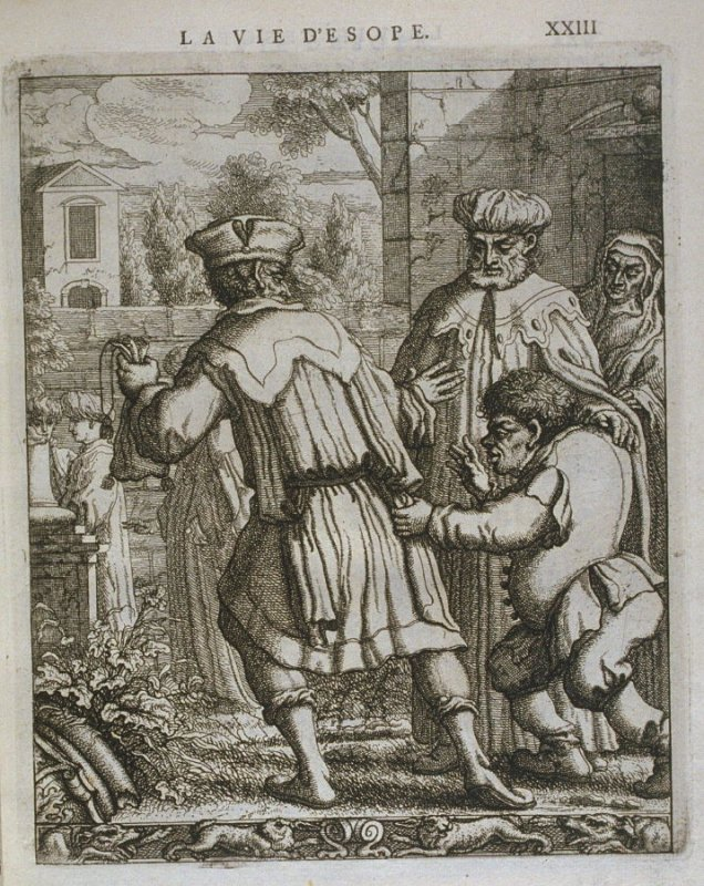 Illustration for La vie d'Esope (Life of Aesop) on page XXIII in the book Les fables d'Esope et de plusieurs autres excellens mythologistes (Amsterdam: Etienne Roger 1714)