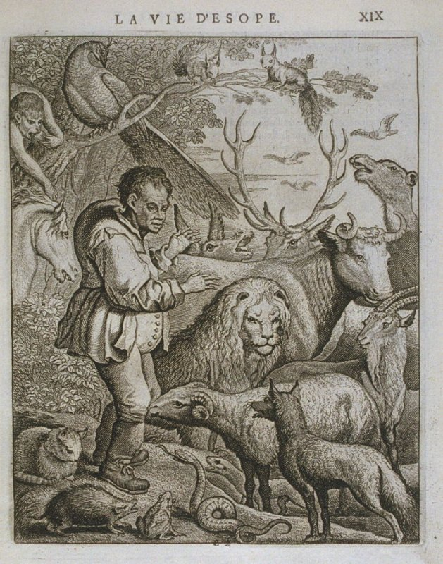 Illustration for La vie d'Esope (Life of Aesop) on page XIX in the book Les fables d'Esope et de plusieurs autres excellens mythologistes (Amsterdam: Etienne Roger 1714)