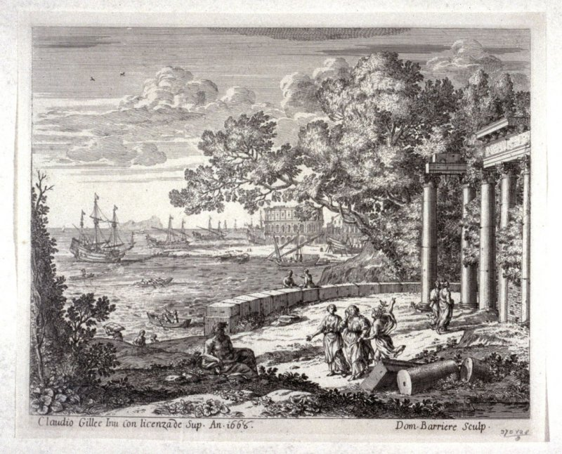 Untitled (temple ruins and harbor)