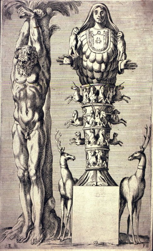 Statue Of Man With Hands Bound To A Tree And Richly Adorned Urn With Two Deer At Base
