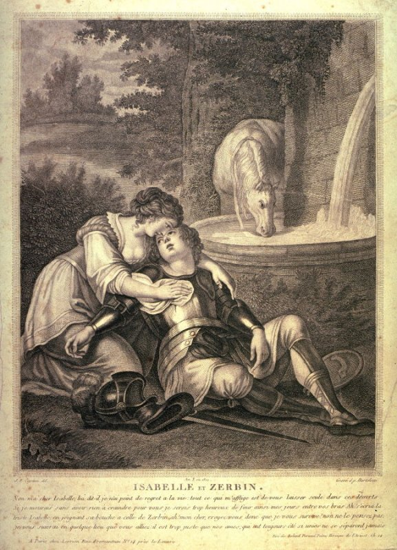 Zerbino, Wounded in a Duel, Dies in the Arms of Isabella, after Bartolozzi's engraving after Cipriani's illustration for Ariosto's Orlando Furioso