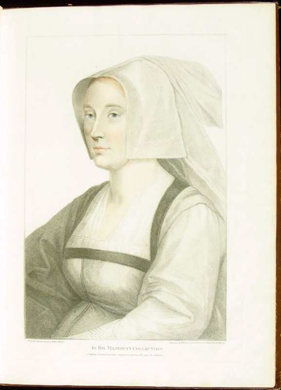Portrait of an Unidentified Lady , plate 4 in the book Imitations of Original Drawings by Hans Holbein in the Collection of His Majesty (London: John Chamberlaine, 1792)