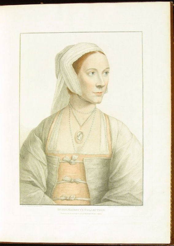 Portrait of Cecily Heron , plate 6 in the book Imitations of Original Drawings by Hans Holbein in the Collection of His Majesty (London: John Chamberlaine, 1792)