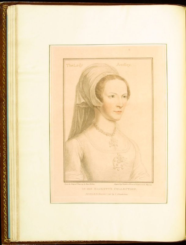 Portrait of Elizabeth, Lady Audley , plate 16 in the book Imitations of Original Drawings by Hans Holbein in the Collection of His Majesty (London: John Chamberlaine, 1792)
