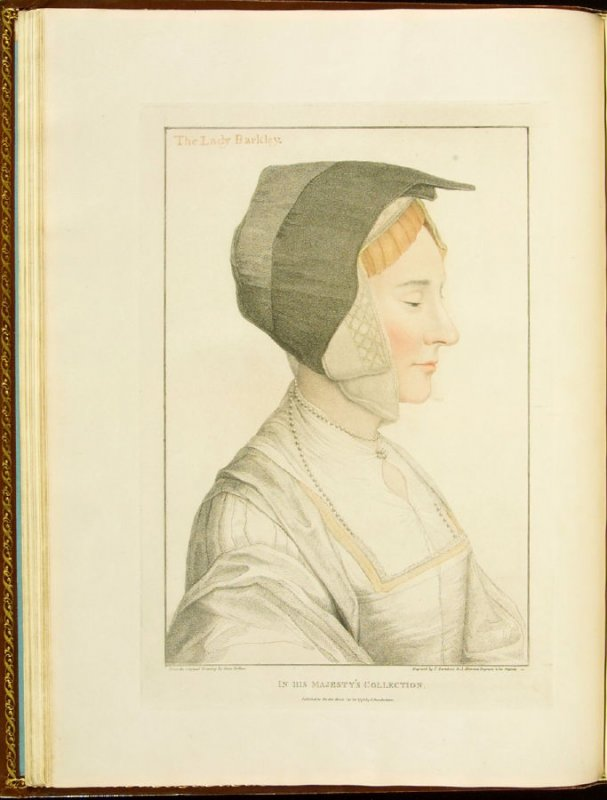 Elizabeth Dauncey (probably not Lady Berkeley (Barkley)) , plate 17 in the book Imitations of Original Drawings by Hans Holbein in the Collection of His Majesty (London: John Chamberlaine, 1792)