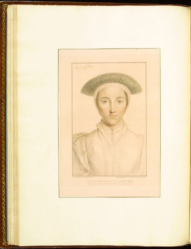 """Anne of Cleves""( Unknown Lady) , plate 24 in the book Imitations of Original Drawings by Hans Holbein in the Collection of His Majesty (London: John Chamberlaine, 1792)"