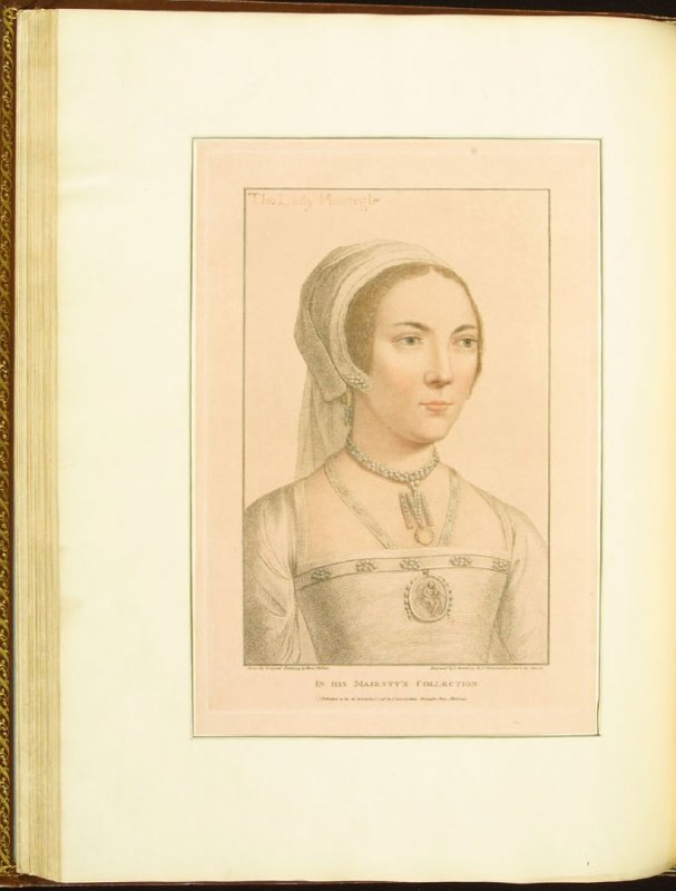 The Lady Monteagle , plate 49 in the book Imitations of Original Drawings by Hans Holbein in the Collection of His Majesty (London: John Chamberlaine, 1792)