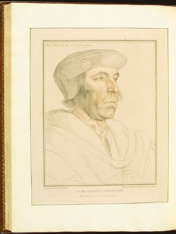 The Earl of Southampton , plate 72 in the book Imitations of Original Drawings by Hans Holbein in the Collection of His Majesty (London: John Chamberlaine, 1792)