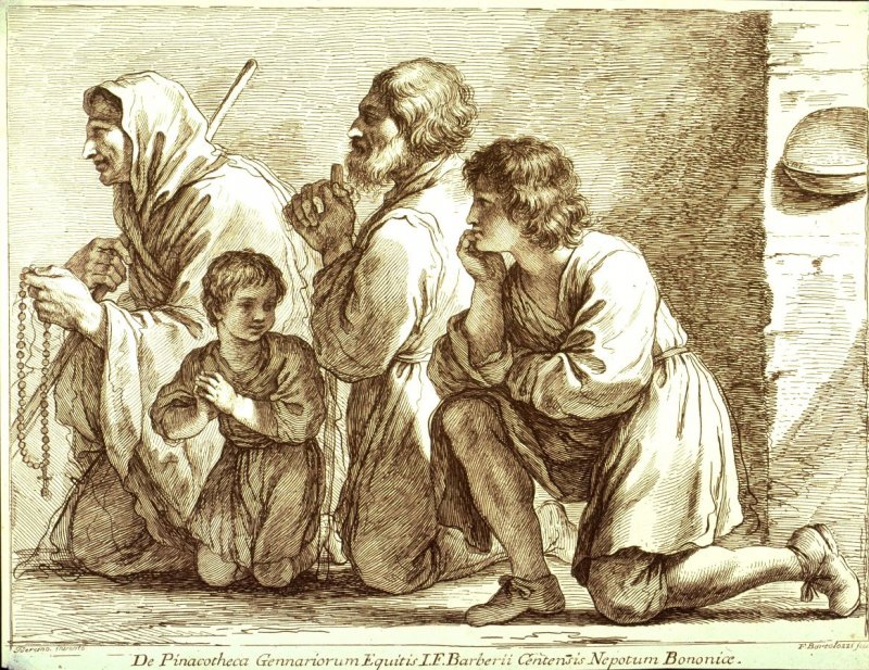 A Family in Prayer, after Guercino, from the series Raccolta di alcuni disegni...