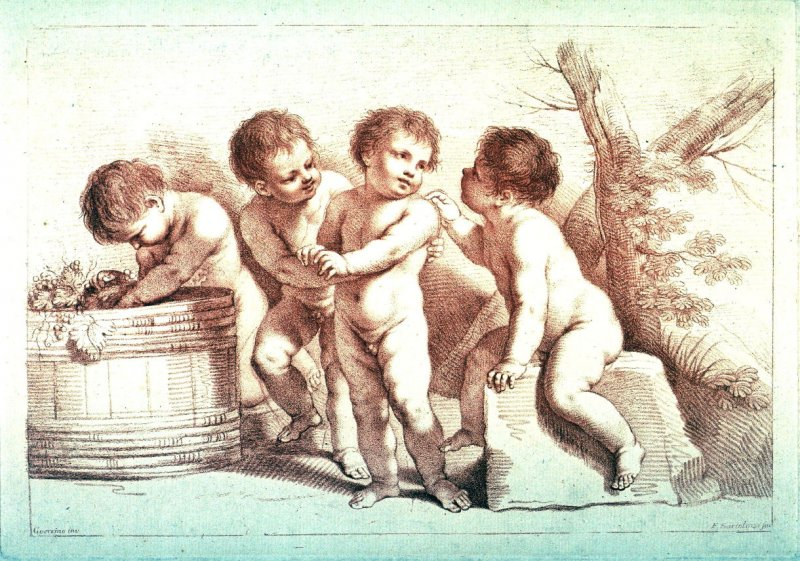 Four Naked Children playing, after Guercino, from the series Seventy-Three Prints, engraved by Bartolozzi &c. from the original drawings by Michel Angelo, Domenichino &c