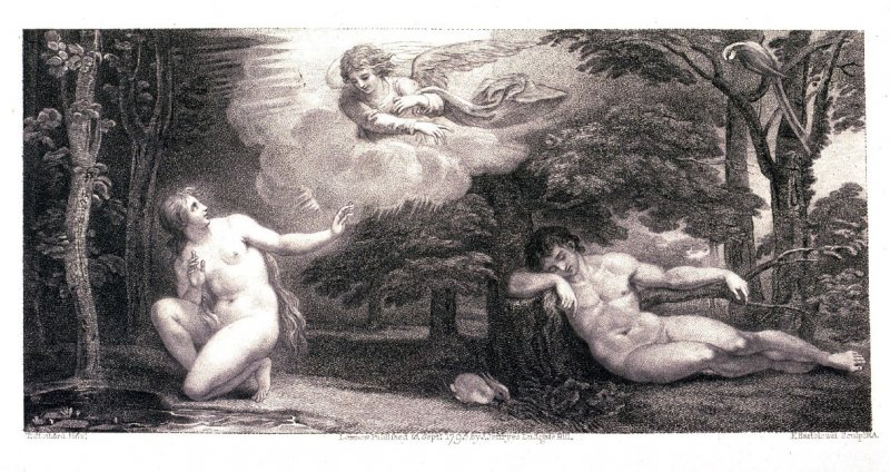 [An angel appears to Eve while Adam is asleep]