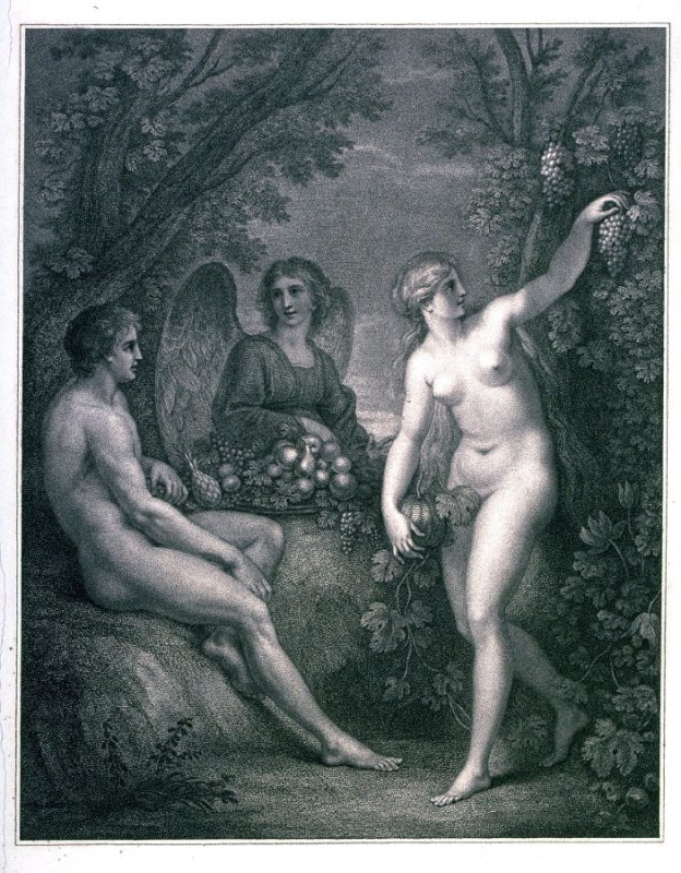 [Eve picking grapes in the garden]