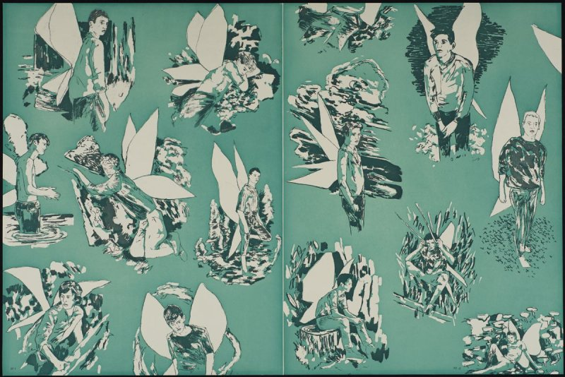 """Revised Endpapers for """"The Homesexual Neurosis"""" (blue)"""