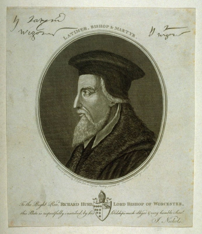 Portrait Of Latimer, Bishop And Martyr, illustration to vol. III of Nichols's 'History of Leicestershire' (1795)