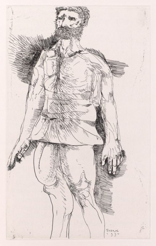 """Titus, full page image for act 2, scene 2 opposite unnumbered page beginning """"The hunt is up, the morn is bright and grey,..."""", fourth etching in the book, Titus Andronicus, a play by William Shakespeare ([Rockport, ME: Gehenna Press,1970])"""