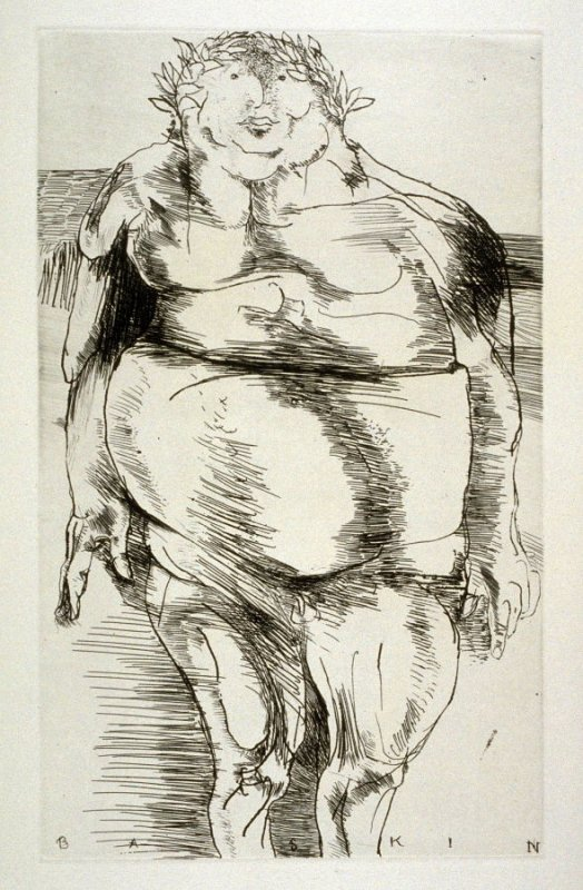 """Caesar, full page image for act 1, scene 1 opposite unnumbered page beginning """"Thanks sweet Lavinia. Romans, let us go:.."""", second etching in the book Titus Andronicus, a play by William Shakespeare ([Rockport, ME: Gehenna Press,1970])"""