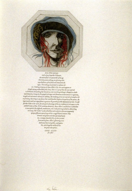 Anne Allen, sixteenth plate in the book, Icones librorum artifices ([Leeds, Mass.]: Gehenna Press, 1988)