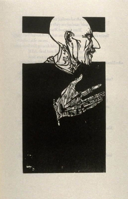 """Iago (portrait and profile), full page image for act 3, scene 4, woodcut interleaved opposite page beginning He went hence but now..."""" in the book Othello, a play by William Shakespeare (Northampton MA:Gehenna Press,1973)"""