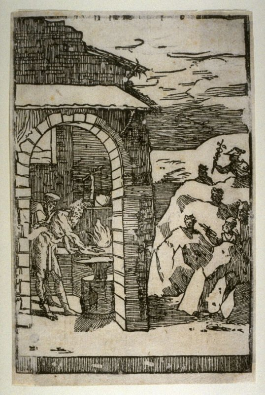 The Blacksmith (Figure of Mercury and the Search for Metal), fifth plate from a series of ten Scenes from the Practice of Alchemy