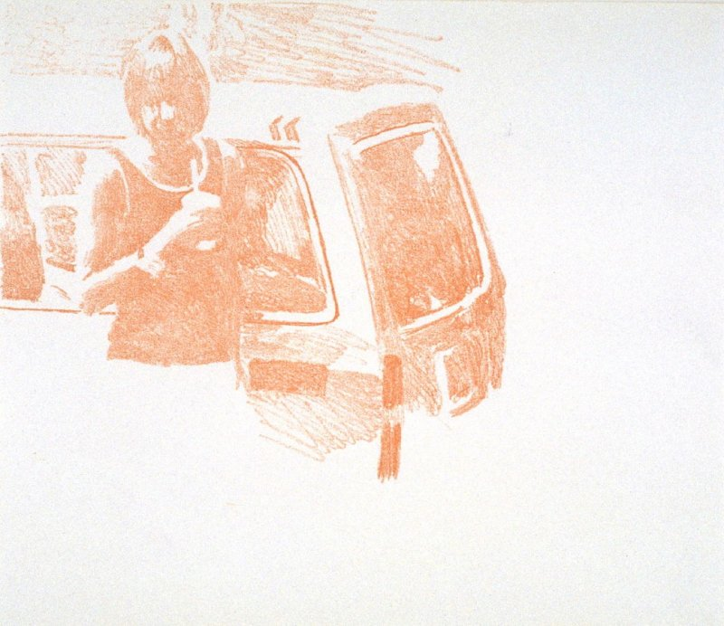 Working Proof 1 for Untitled (woman with car)