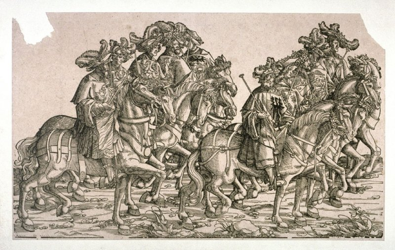 Ten mounted heralds from: Plates To The Triumph Of Maximilian I