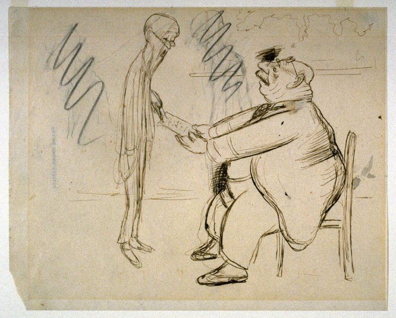 """First study for """"Si Vieillesse Pouvait"""", pl. 34 in the book, Beerbohm: A Survey (New York: Doubleday,Page, 1921)"""