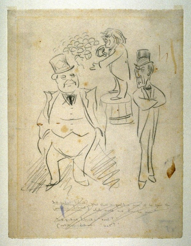 """Sketch for """"The Trick Election of 1918"""", pl. 34 in the book, Beerbohm: A Survey (New York: Doubleday,Page, 1921)"""