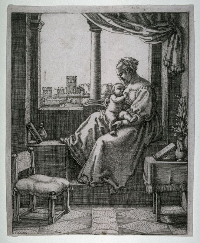 The Virgin And Child Seated By A Window