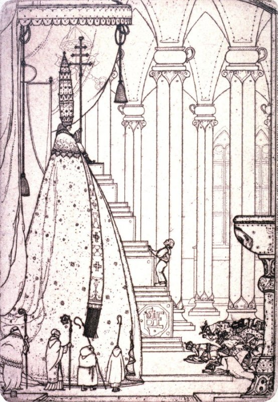"""""""The She-Pope"""" from Illustrations For The Fisherman And His Wife."""