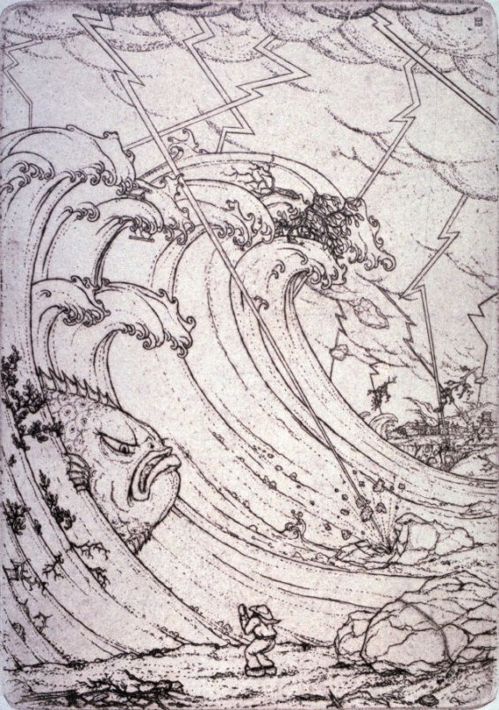 """""""The Great Storm"""" from Illustrations For The Fisherman And His Wife."""