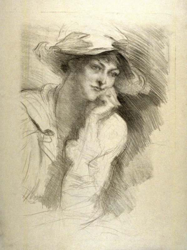 Lady with simple hat, hand on chin