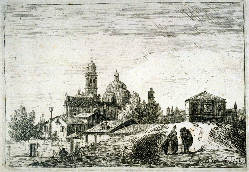A View of Padua with a Gateway and a Domed Church