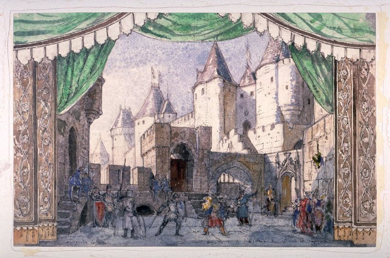 Stage Design for the Duel Scene between the Knight and Jean de Brieune in Act II of the ballet Raymonda