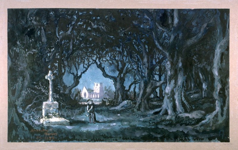 Backdrop for the Cemetery of the Wilis in Act II of the ballet Giselle
