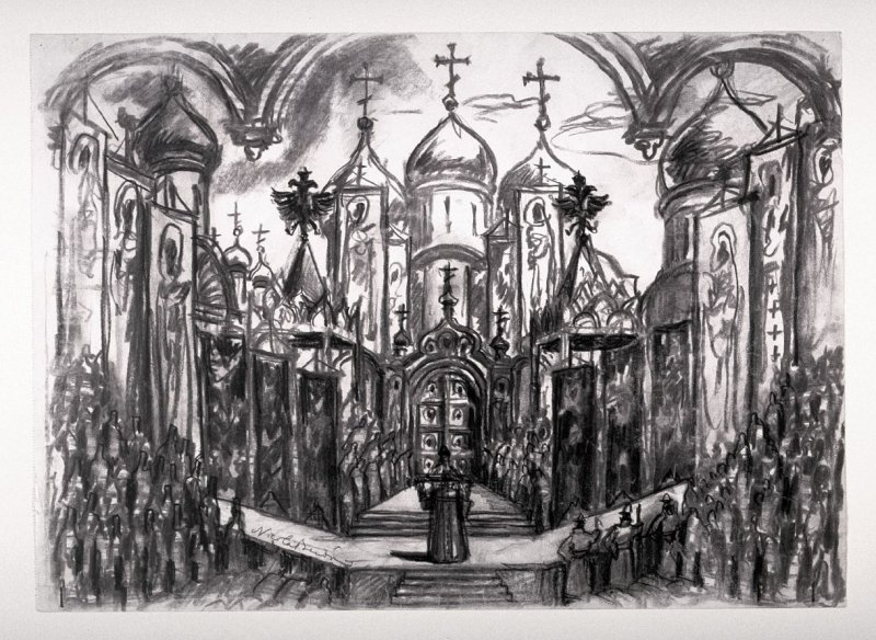 State Design for Act 2, Boris Godunov by Modeste Mussorgsky, LaScala, Milan production