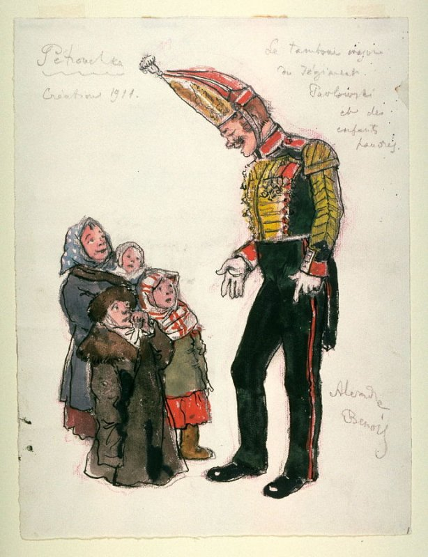 Costume sketch for the drum major and children for Petrouchka, Diaghilev's Ballets Russes