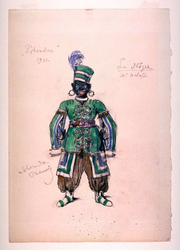 """Costume sketch for the """"Le Negre"""" for Petrouchka, Diaghilev's Ballets Russes"""