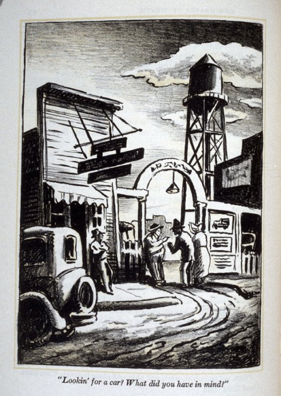 """""""Looking for a car? What did you have in mind?"""", illustration on page 76 in the book, The Grapes of Wrath by John Steinbeck (New York: Limited Editions Club, 1940), vol. 1"""