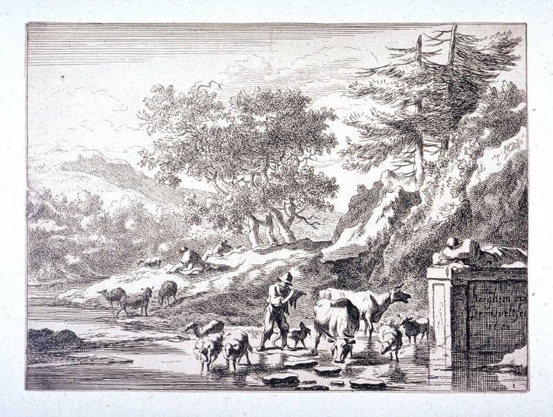 [Landscape with man and animals in stream]